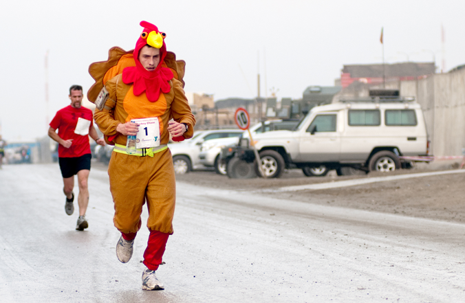 Sweet public domain photo of a Turkey Trot fun run participant.