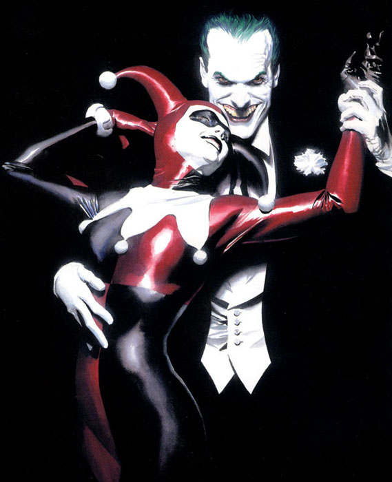 Cropped textless variant of cover art for Batman: Harley Quinn #1, art by Alex Ross