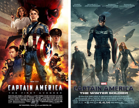 Captain America The First Avenger and Winter Soldier movie posters