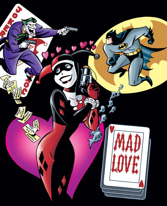 Harley Quinn, Joker, and Batman, Cropped from textless variant cover of Mad Love Vol 1 No 1, art by Bruce Timm