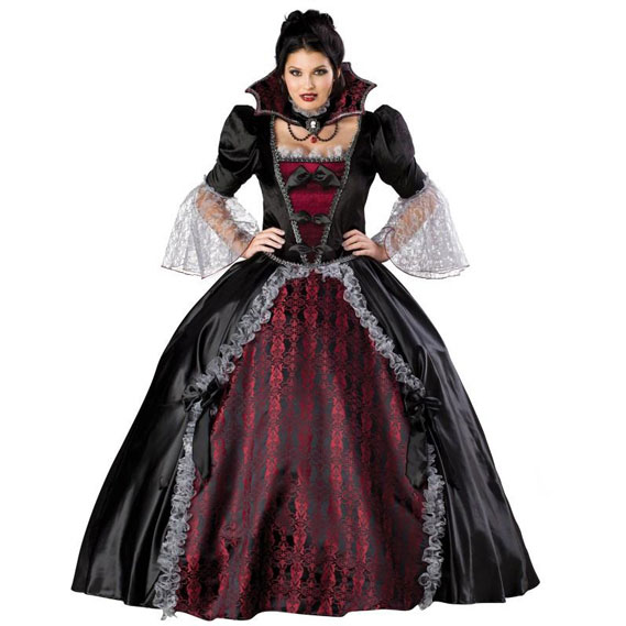 this 18th century inspired design is one half marie antoinette one half classic horror and completey drop dead gorgeous layered petticoats and a satin